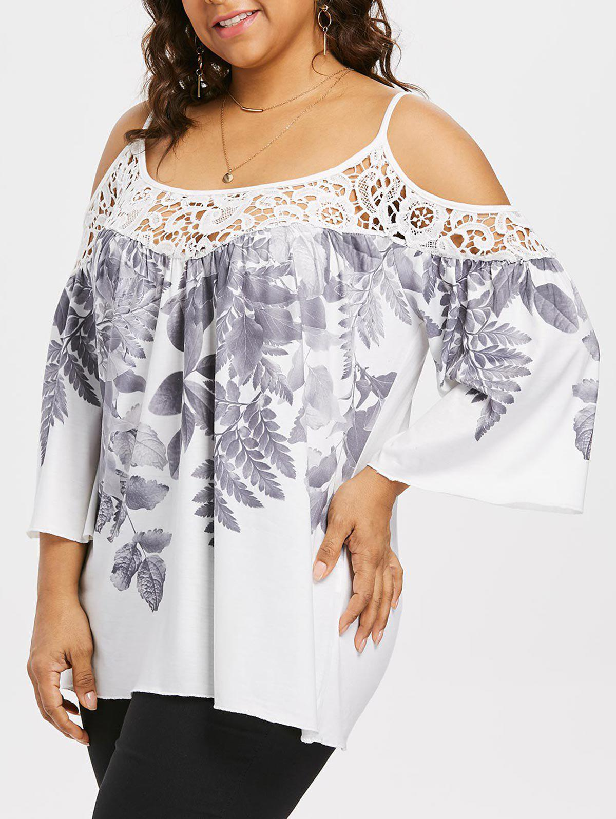 Sale Plus Size Leaf Print Flare Sleeve Top
