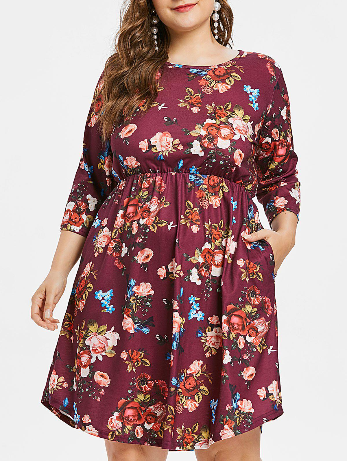 Outfits Plus Size Flower High Waisted Dress