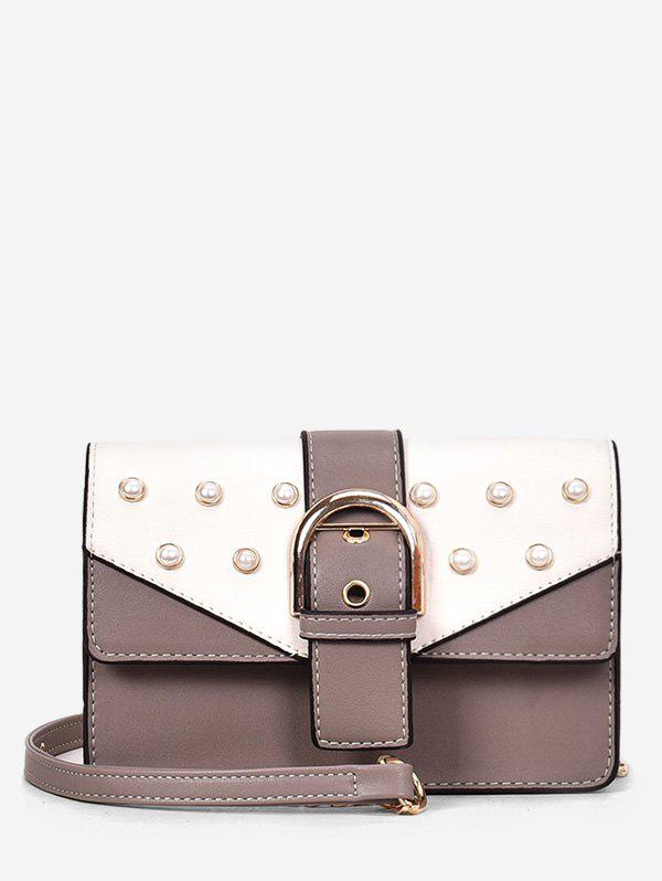 Cheap Buckled Faux Pearls Flapped Color Block Crossbody Bag