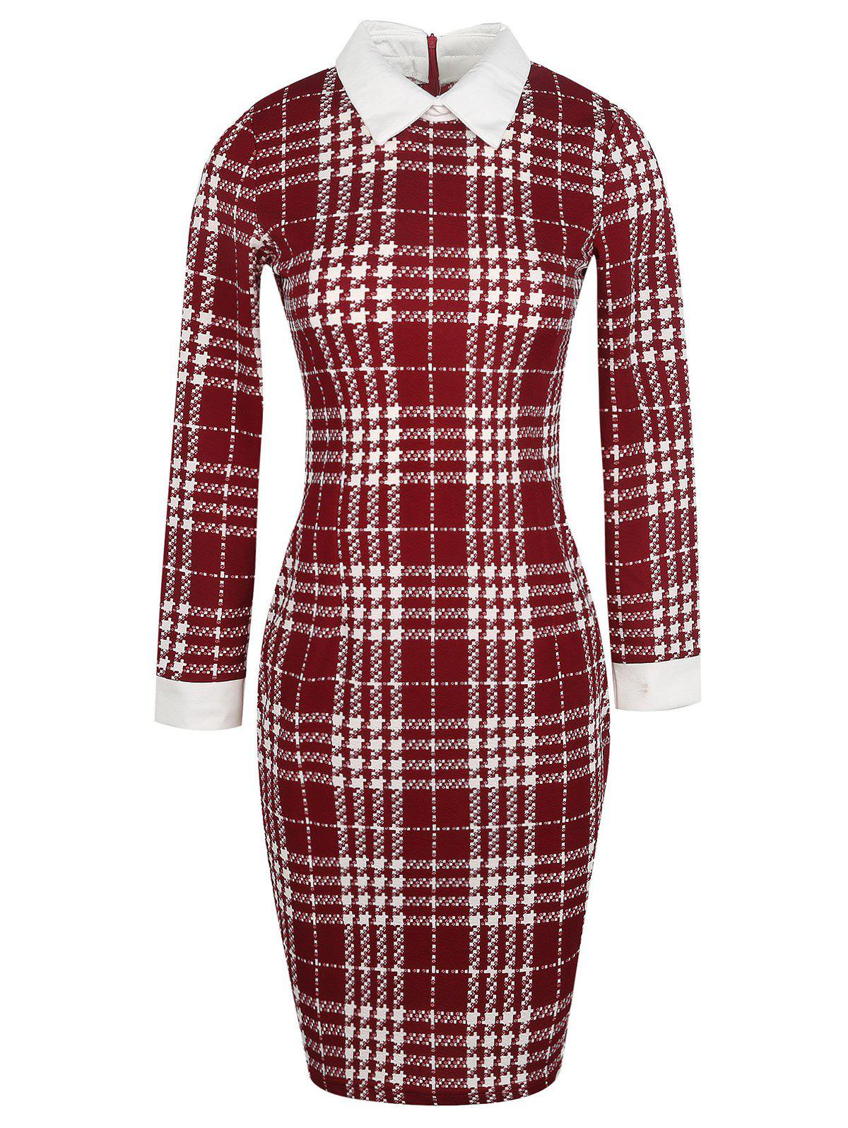 Online Bodycon Houndstooth Pattern Knee Length Dress