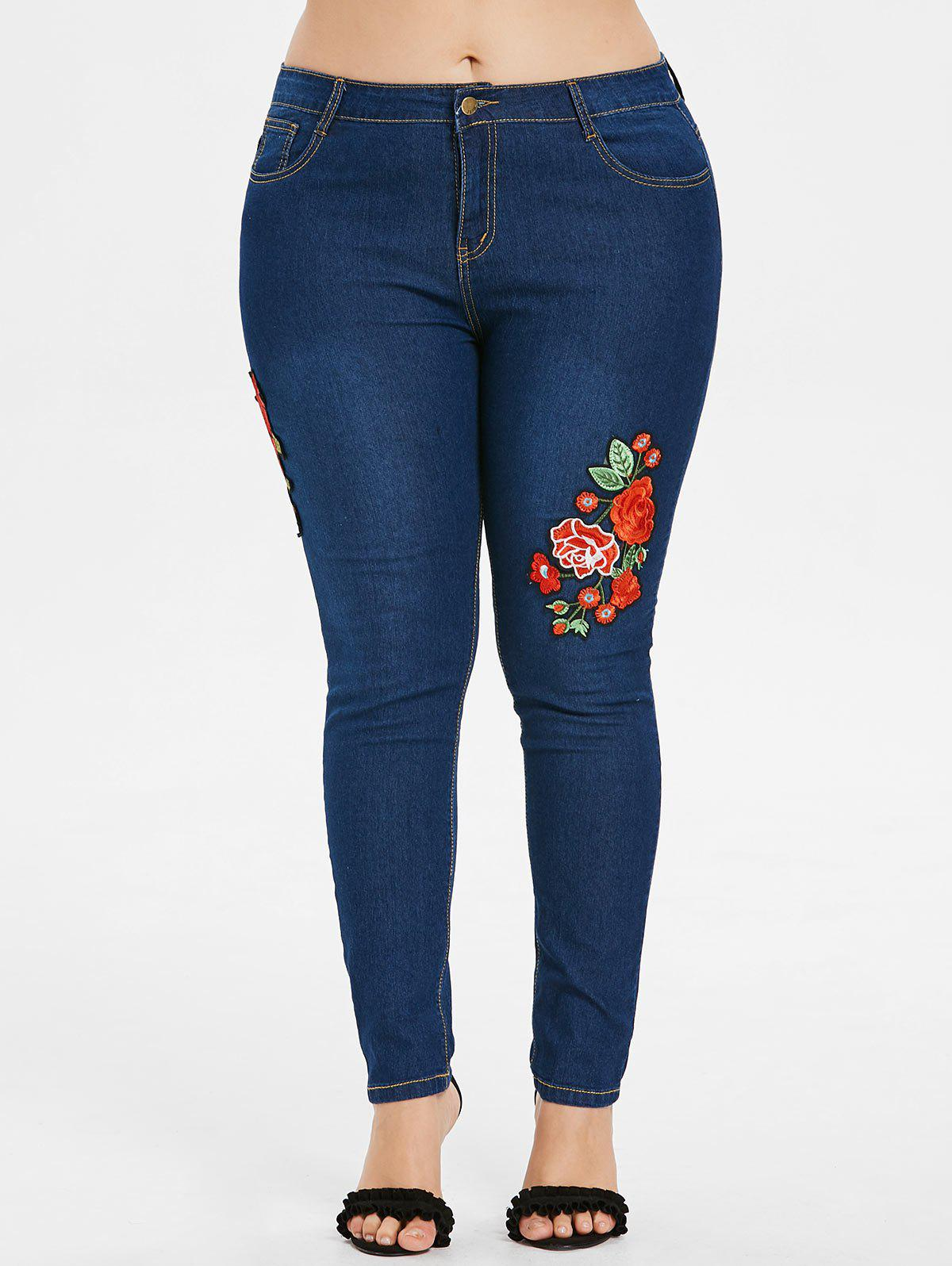 Outfits Plus Size Flower Applique Skinny Jeans