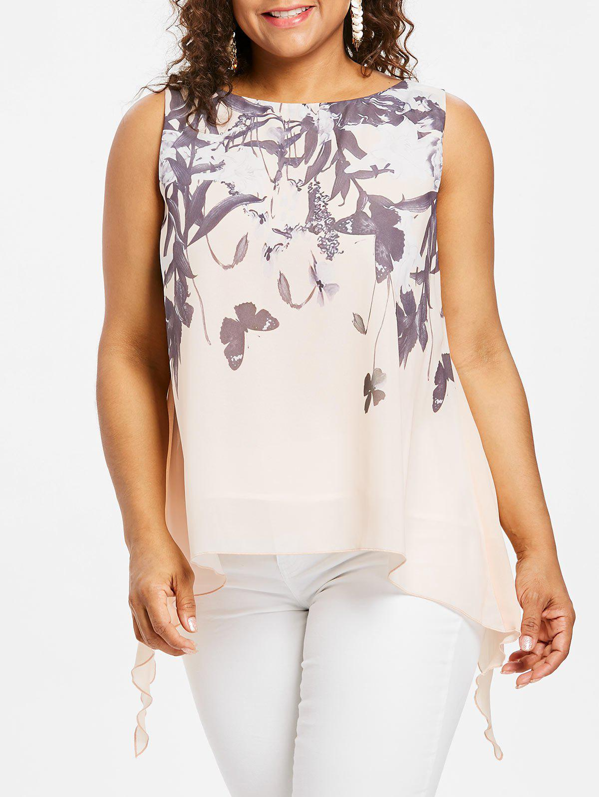 Affordable Plus Size Butterflies Pattern Tank Top