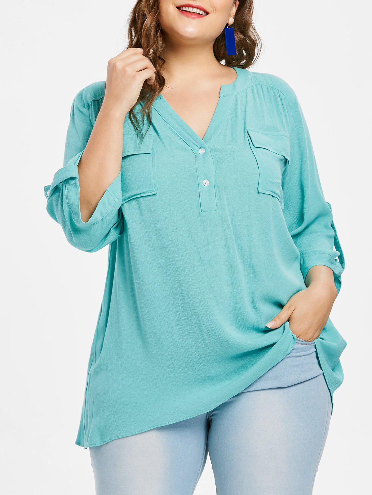 Fashion Plus Size Roll Tab Sleeve Flap Pocket Blouse