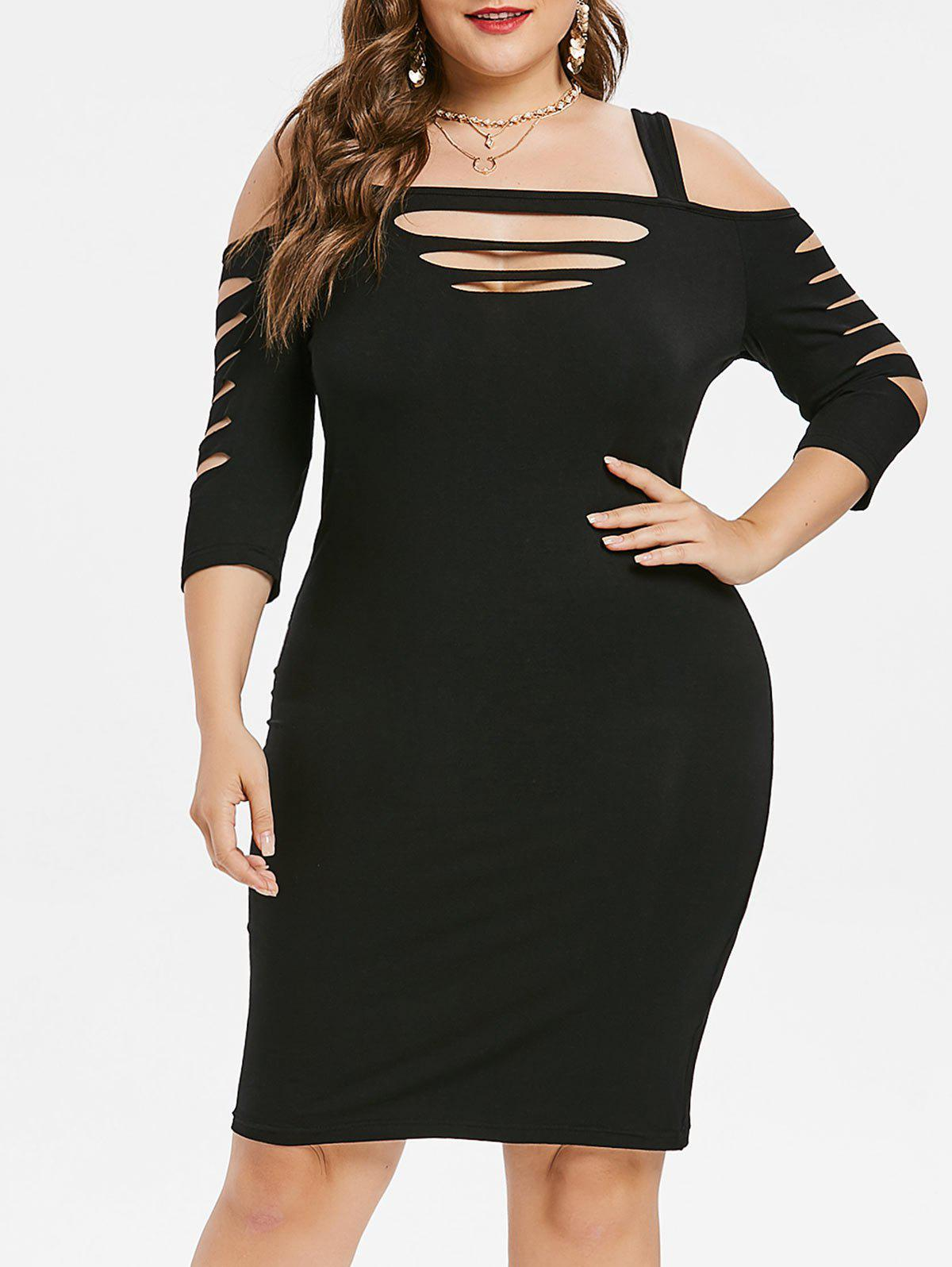 Buy Plus Size Ladder Cut Bodycon Dress