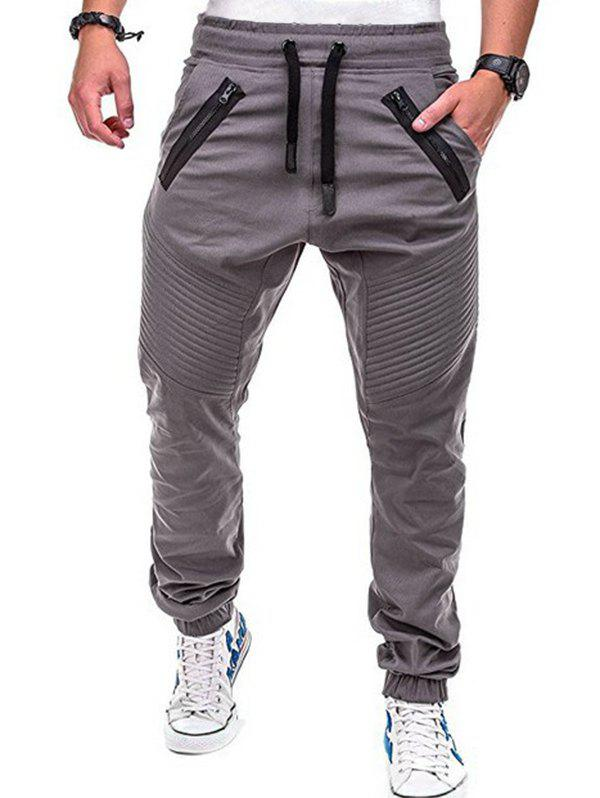 Outfits Faux Back Pocket Zipper Decorated Jogger Pants