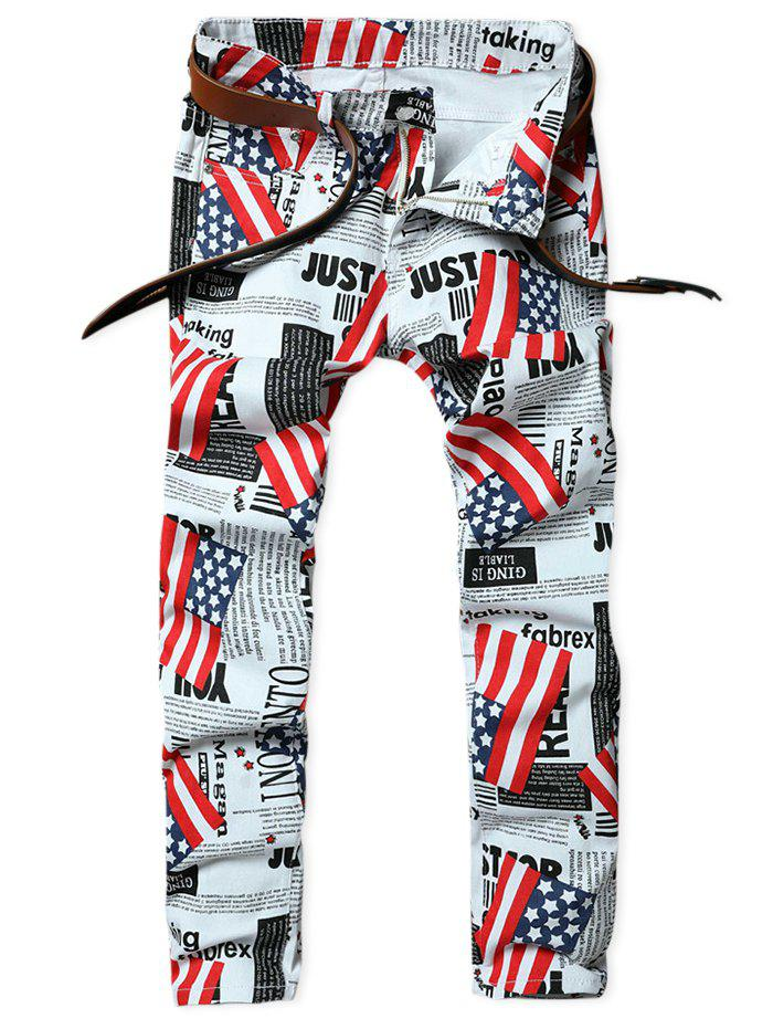Outfit Newspaper American Flag Inspired Five-pocket Jeans
