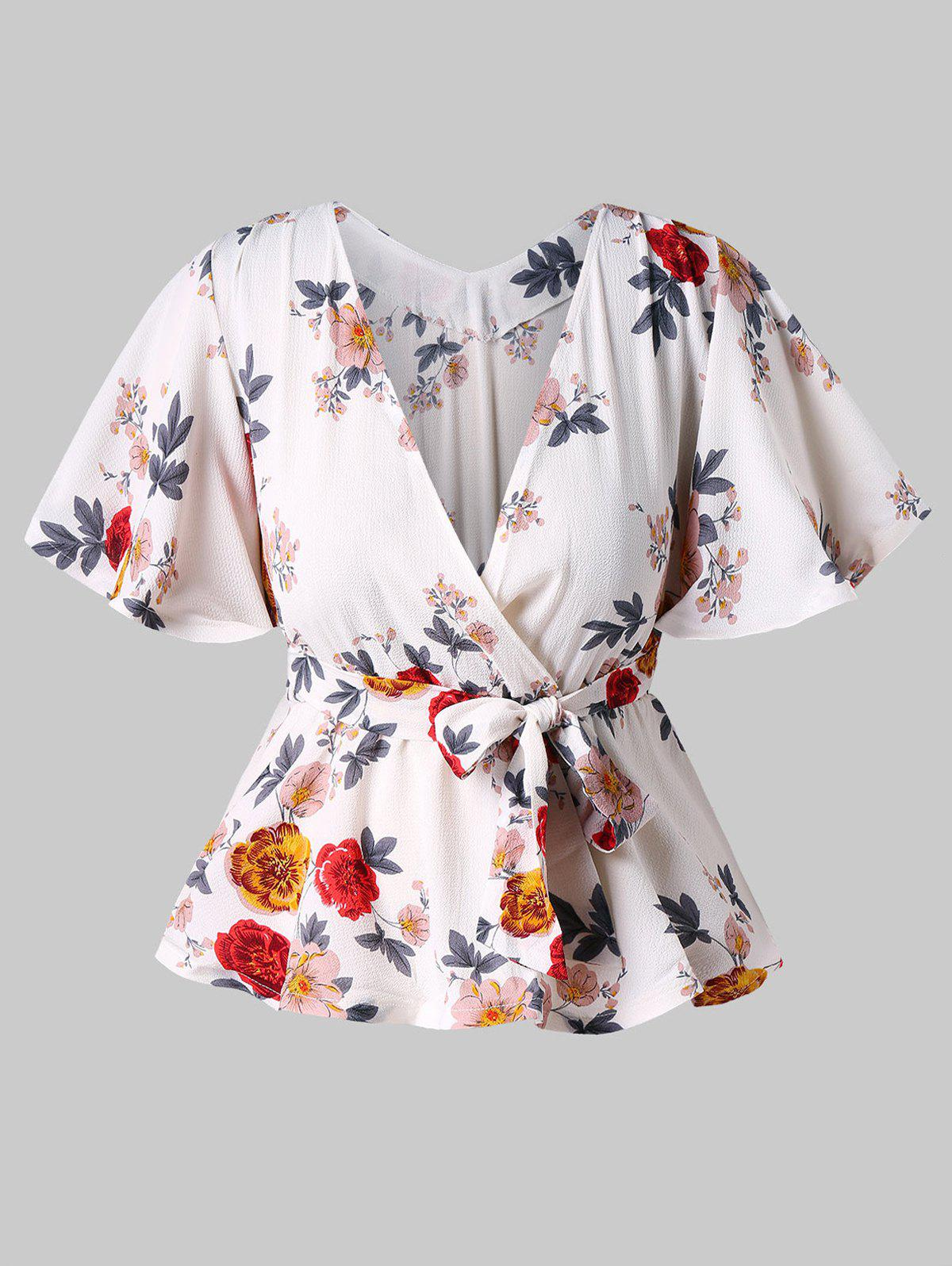 Latest Short Sleeve Floral Print Surplice Blouse