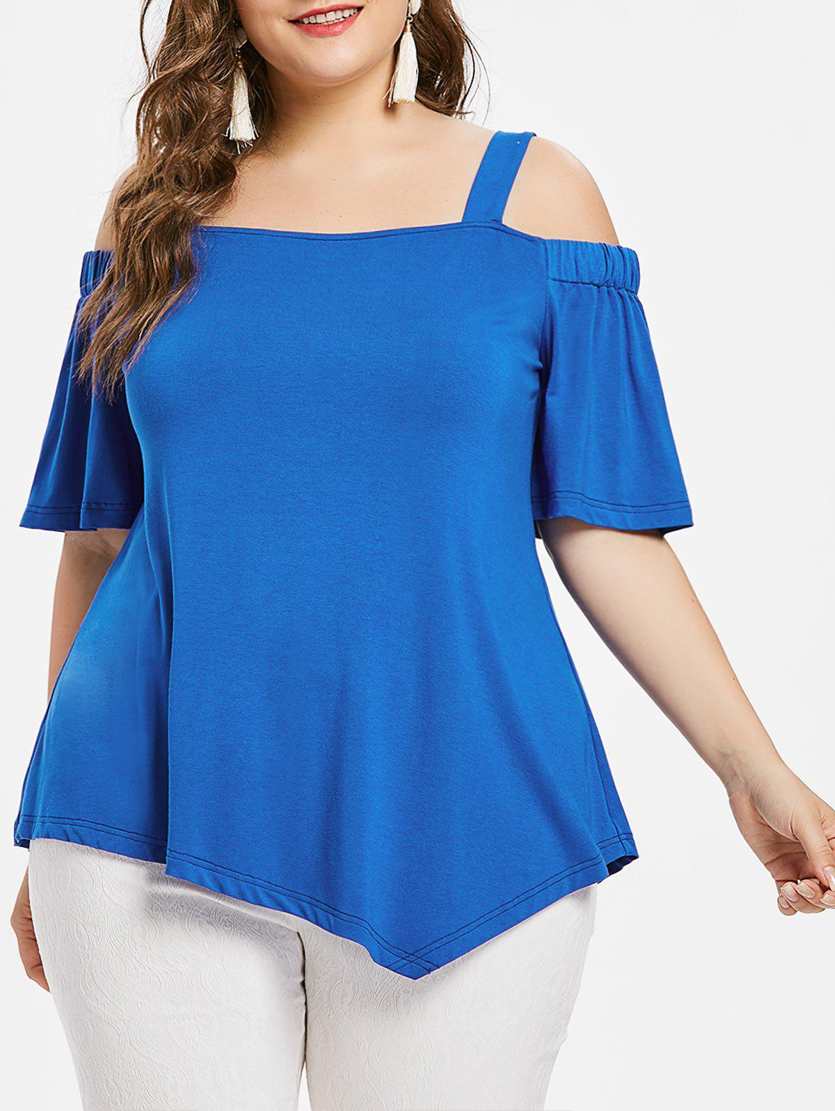 aaa8aab1192a27 48% OFF   2018 Plus Size Asymmetric Cold Shoulder Top In Blue 5x ...