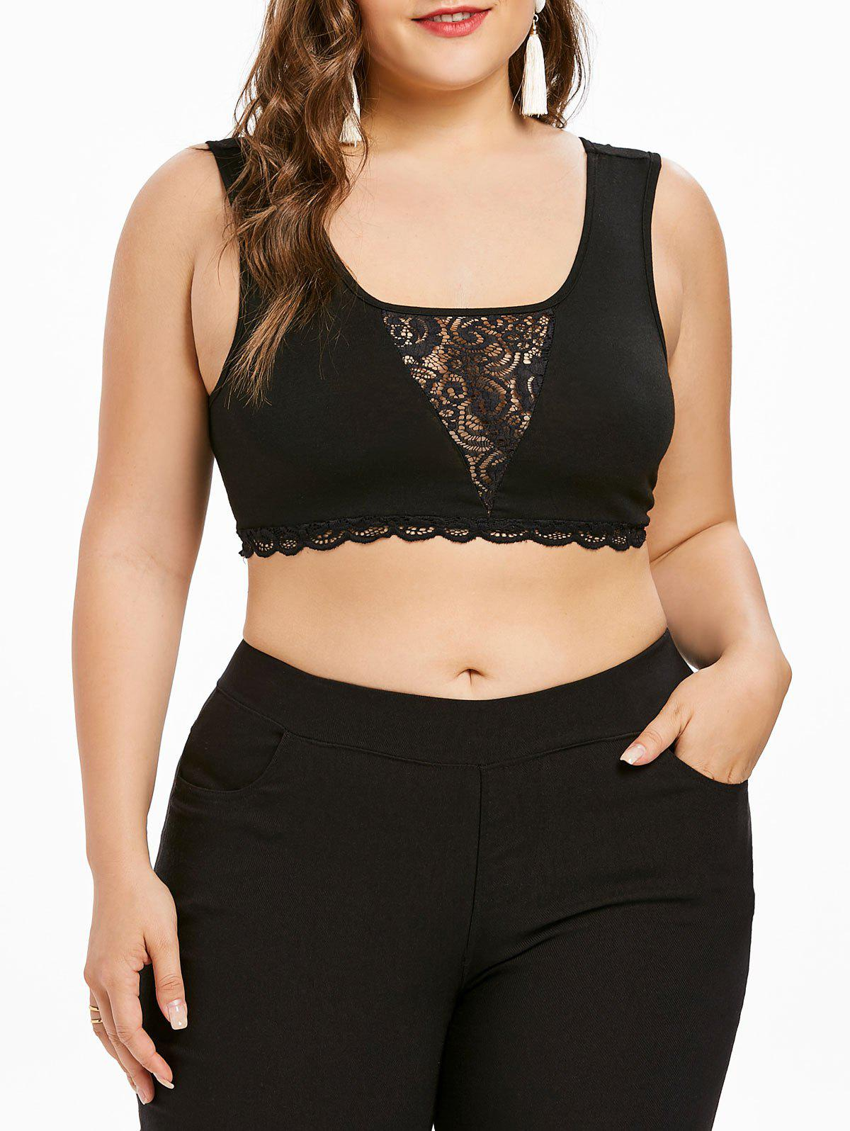 Store Plus Size Lace Insert Cropped Tank Top