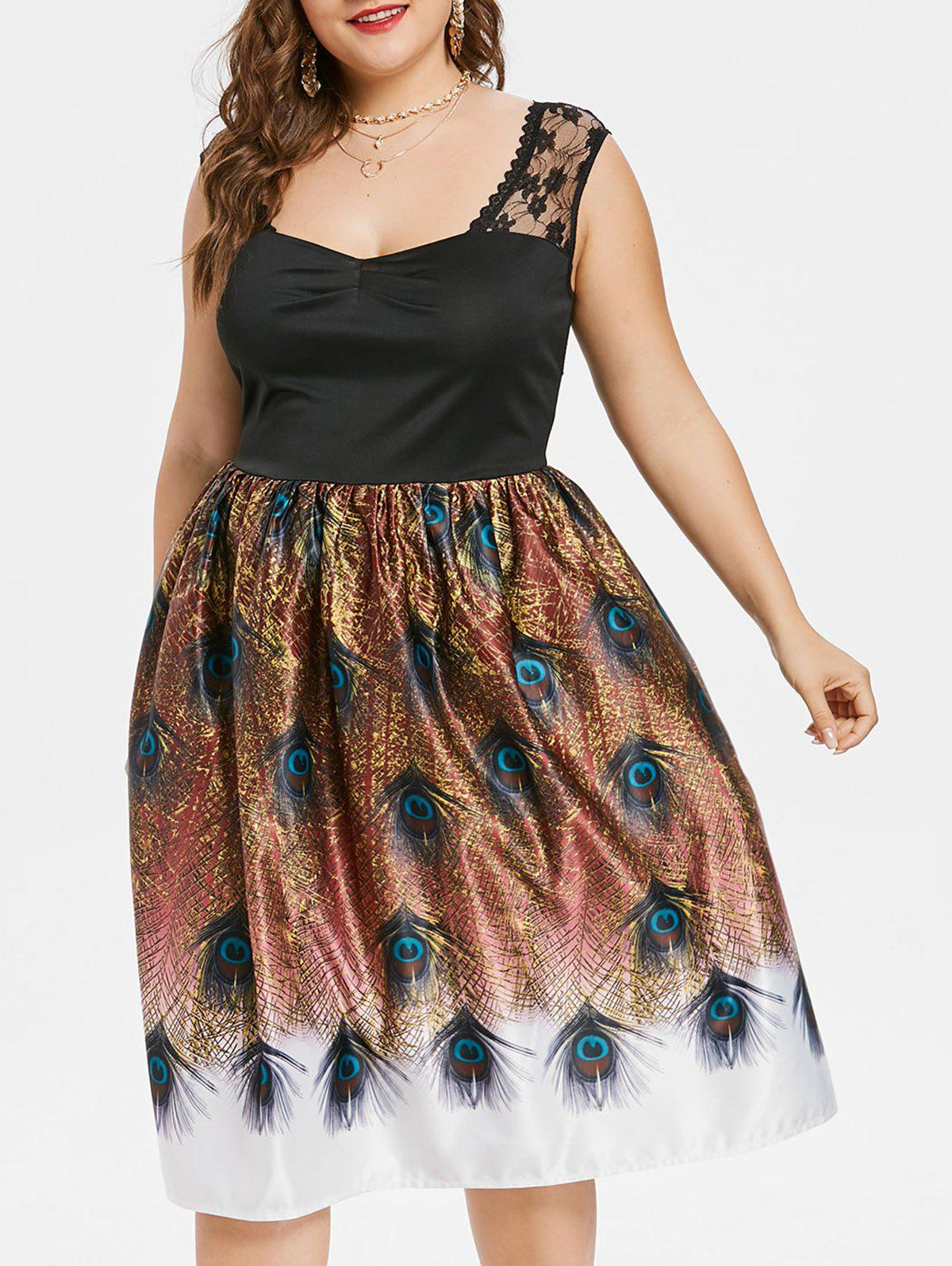Fashion Plus Size Peacock Feather Lace Insert Dress