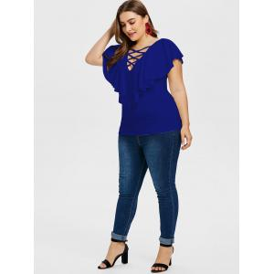 Criss Cross Plus Size Ruffle Insert T-shirt -