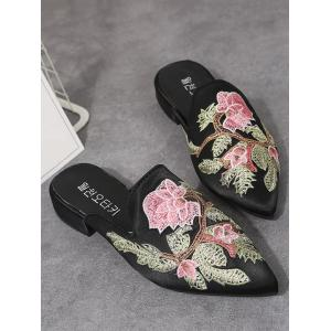 Low Heel Chic Flower Embroidery Pointed Toe Mules Shoes -