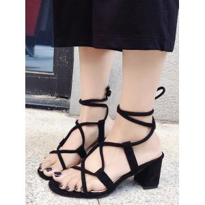 Chunky Heel Chic Lace Up Ankle Strap Sandals -