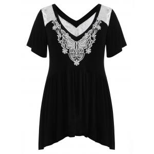 Plus Size Applique Lace Swing T-shirt -