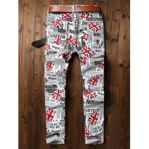 Union Jack Newspaper Inspired Zip Fly Jeans -