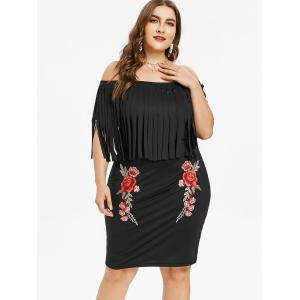 Plus Size Flower Embroidered Fringed Dress -