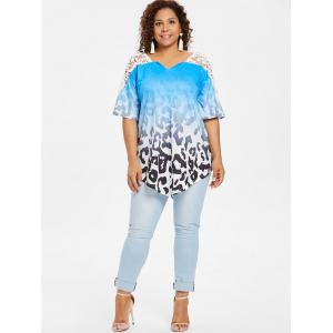 Plus Size Lace Insert Ombre Print Top -