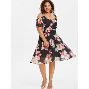 Plus Size Floral Zip Front Flare Dress -