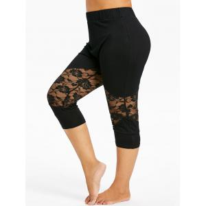 Plus Size Lace Insert Cropped Leggings -