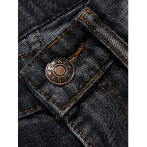 Zip Fly Dark Wash Destroy Tapered Jeans -