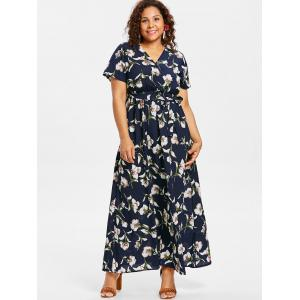 Plus Size Flower Surplice Maxi Dress -