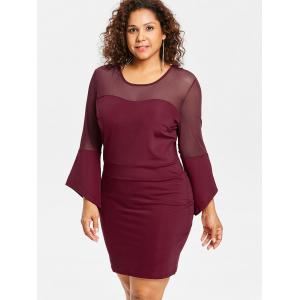 Plus Size Mesh Insert Bell Sleeve Dress -