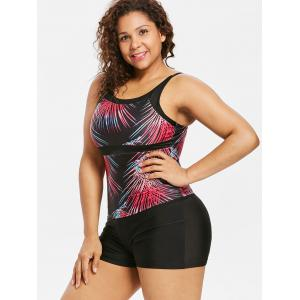 Plus Size Gradient Tropical Leaf Tankini Swimsuit -