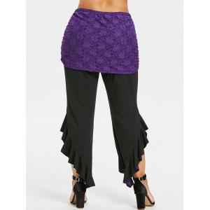ROSEGAL Plus Size Ruffle Leggings with Lace Skirt -