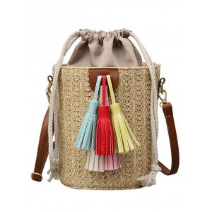 Tassels Decoration Bucket Shaped Straw Casual Tote Bag -