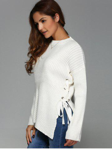 Outfits Lace-Up Drop Shoulder Sweater