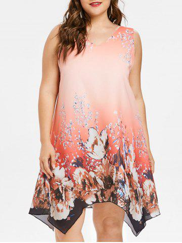 Discount Plus Size Print V Neck Sleeveless Dress