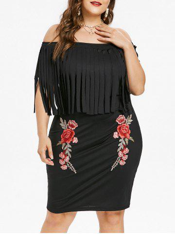 Hot Plus Size Flower Embroidered Fringed Dress