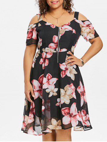 Buy Plus Size Floral Zip Front Flare Dress