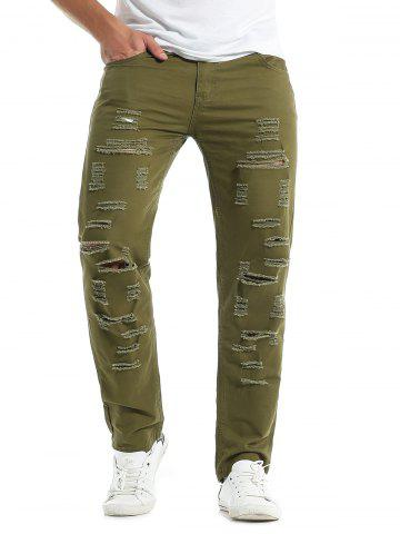Sale Zipper Fly Distressed Solid Color Jeans