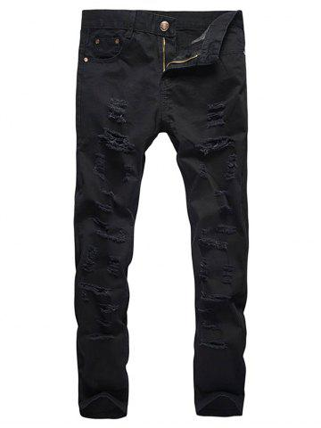 New Zipper Fly Distressed Solid Color Jeans