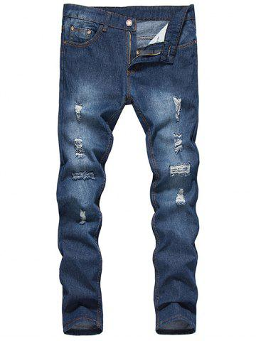 Discount Zip Fly Dark Wash Destroy Tapered Jeans