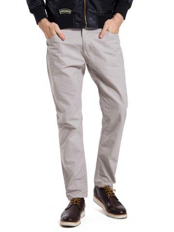 Outfit Zipper Fly Straight Leg Casual Pants