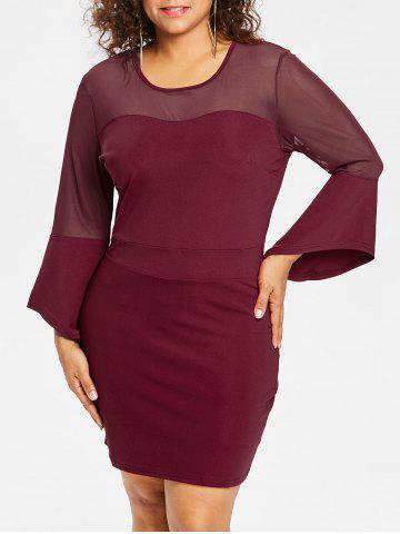 Cheap Plus Size Mesh Insert Bell Sleeve Dress