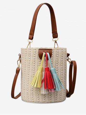 Sale Tassels Decoration Bucket Shaped Straw Casual Tote Bag