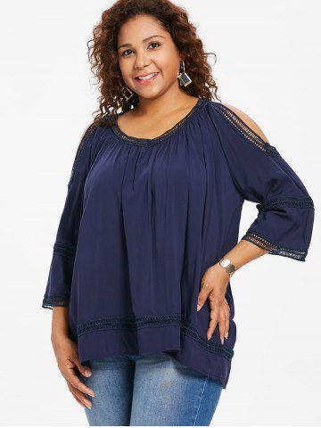 Open Shoulder Plus Size Crochet Trim Blouse