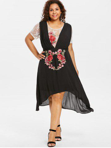 Plus Size Lace Trim High Low Dress