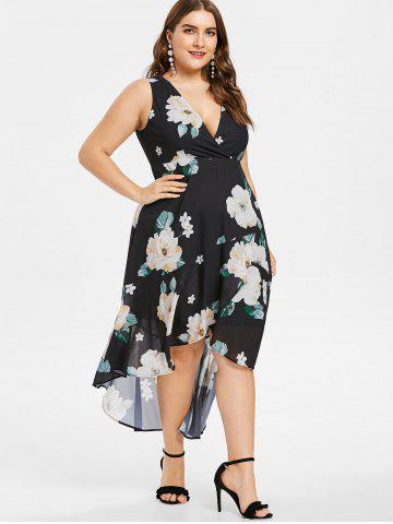 Plus Size Floral Plunging Neck High Low Dress