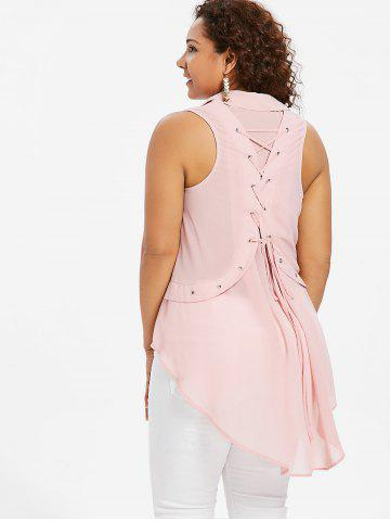 Plus Size Sleeveless Back Lace Up Blouse