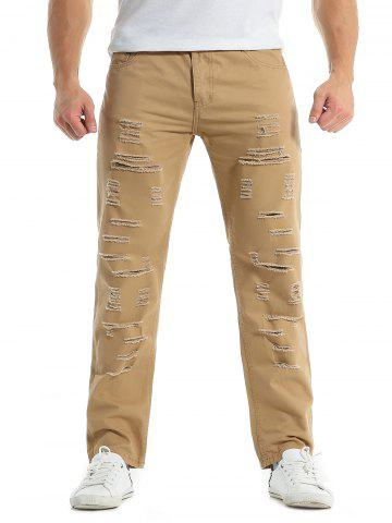 Zipper Fly Distressed Solid Color Jeans