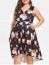 Flower High Low Plus Size Dress -