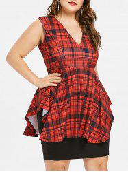 Plus Size Plaid Layered Tight Dress -