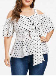 Plus Size Tiered Bell Sleeve Polka Dot Blouse -
