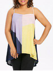 Color Block Plus Size High Low Cami Top -