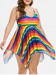 Plus Size Rainbow Handkerchief Tankini Set -