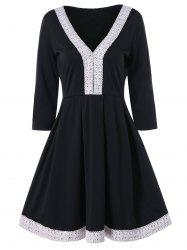 Cochet Lace Trim Fit and Flare Dress -